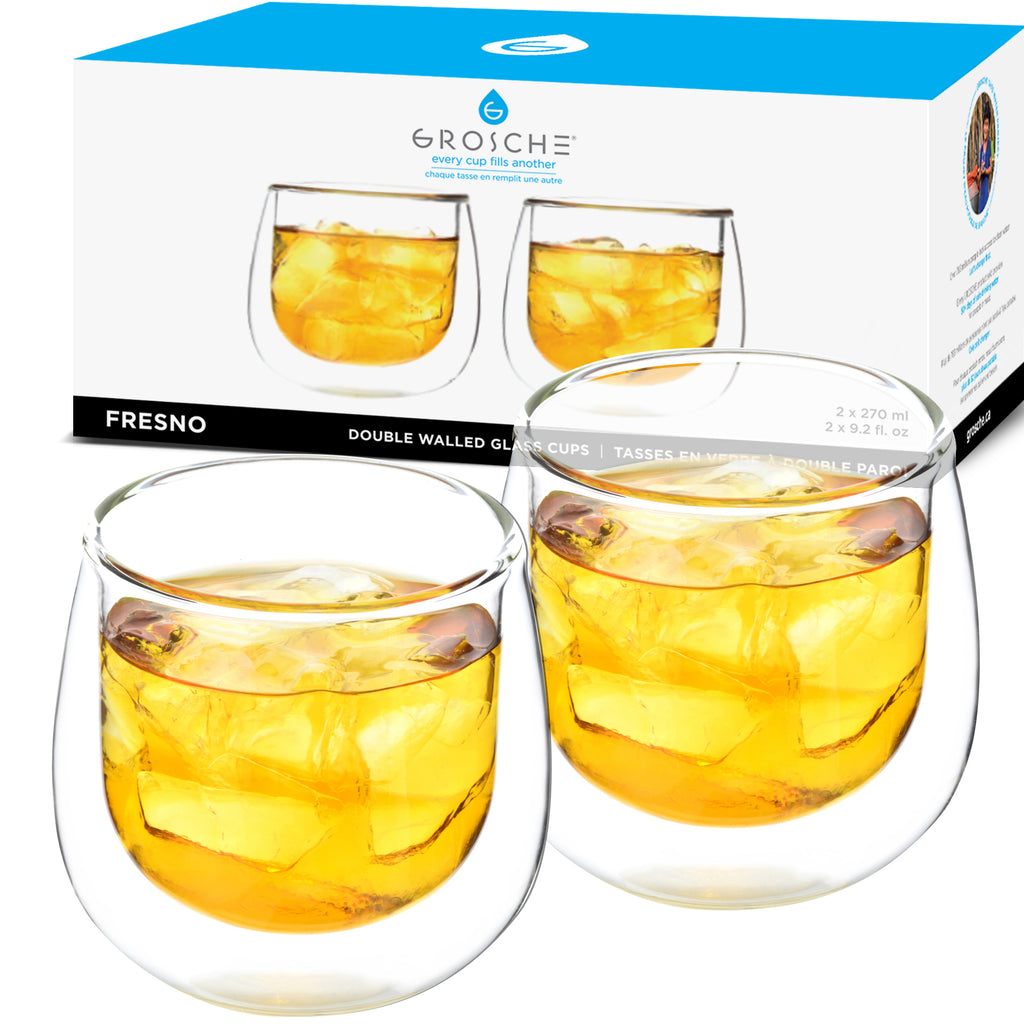 FRESNO Cups Dbl Walled (NO handle) Glassware; 2 x 270ml, Pkg. of 4 sets