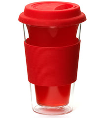 Glassware: Double Walled Glassen Travel Mug - Red, 350ml - Package of 4