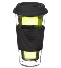 Glassware: Double Walled Glassen XL Travel Mug - Black, 425ml - Package of 4