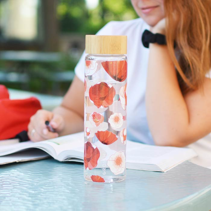Glass Water Bottle: Venice Red Poppy Flowers 670 ml /22.6 fl. oz - Wholesale Pack of 4
