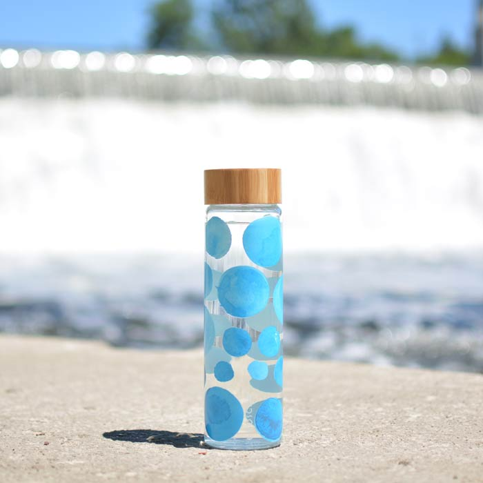 single walled thermal glass water bottle grosche venice GR 384 Blue water color