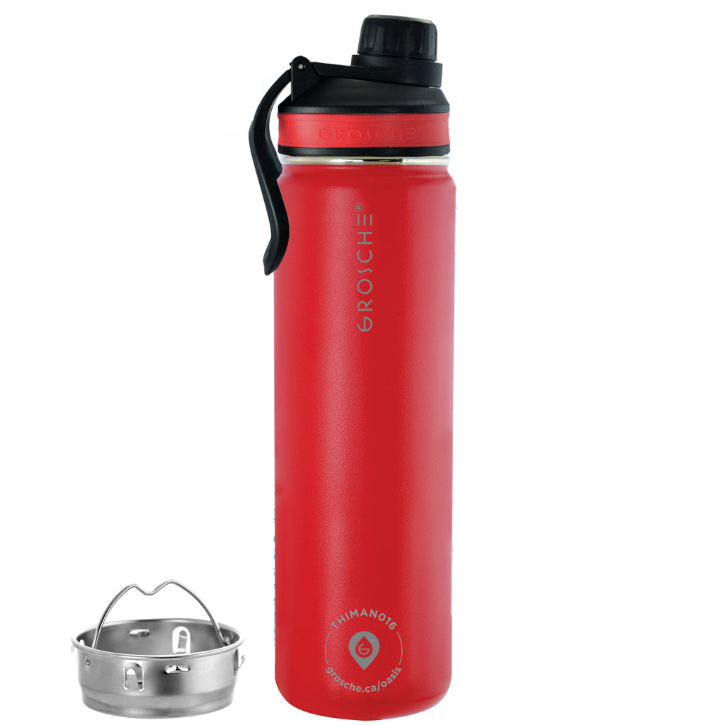 OASIS Fruit Infuser Water Bottle (Flame Red) - 650 ml/22 fl. oz - Pack of 4