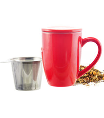 Infuser Tea Mug: GROSCHE Kassel - Red, 330ml/11.2 fl. oz - Package of 4