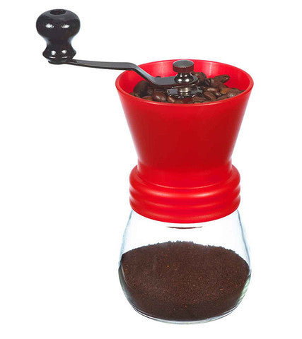 Coffee Grinder: GROSCHE Bremen Ceramic Burr Coffee Grinder - Red, 100g capacity - Package of 2