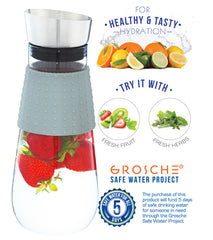 Water Pitcher & Fruit Infuser: GROSCHE Maui - Grey,1000ml/34 fl. oz - Package of 2