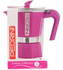 Espresso Coffee Maker Moka Pot: PEDRINI ITALY Polished Aluminium Stovetop Espresso Maker - Pink, available in 4 sizes, package of 4