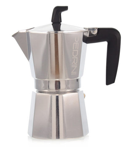 Espresso Coffee Maker Moka Pot: PEDRINI ITALY Sei Moka Polished Aluminium Stovetop Espresso Maker- Chrome and Black, available in 4 sizes, package of 4