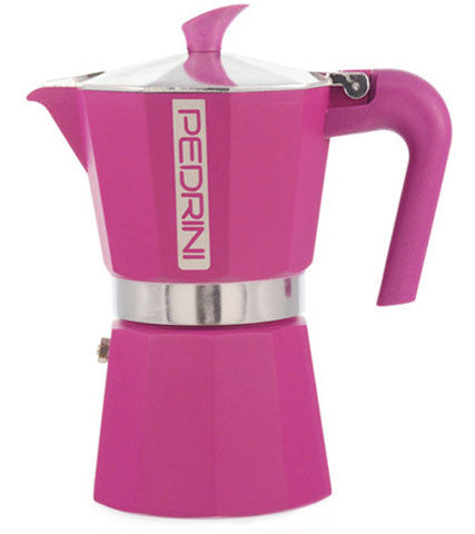 Espresso Coffee Maker Moka Pot: Pedrini Italy Polished Aluminium Stovetop Espresso Maker - Pink Available In 4 Sizes Package Of 4 - Espresso