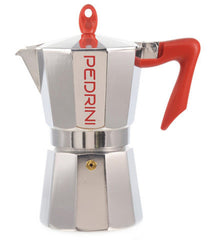 Espresso Coffee Maker Moka Pot: PEDRINI ITALY Polished Aluminium Stovetop Espresso Maker - Red & Chrome, available in 4 sizes, package of 4