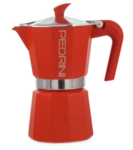 Espresso Coffee Maker Moka Pot: PEDRINI ITALY Polished Aluminium Stovetop Espresso Maker- Red, available in 4 sizes, package of 4