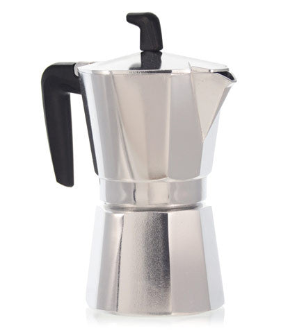 Espresso Coffee Maker Moka Pot: Pedrini Italy Sei Moka Polished Aluminium Stovetop Espresso Maker- Chrome And Black Available In 4 Sizes