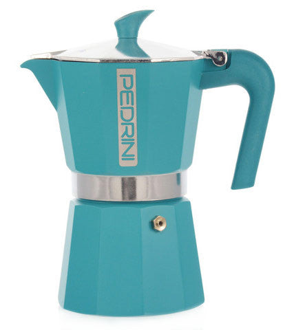 Espresso Coffee Maker Moka Pot: PEDRINI ITALY Polished Aluminium Stovetop Espresso Maker - Blue, available in 4 sizes, package of 4