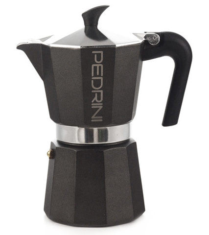Espresso Coffee Maker Moka Pot: PEDRINI ITALY Polished Aluminium Stovetop Espresso Maker- Black, available in 4 sizes, package of 4