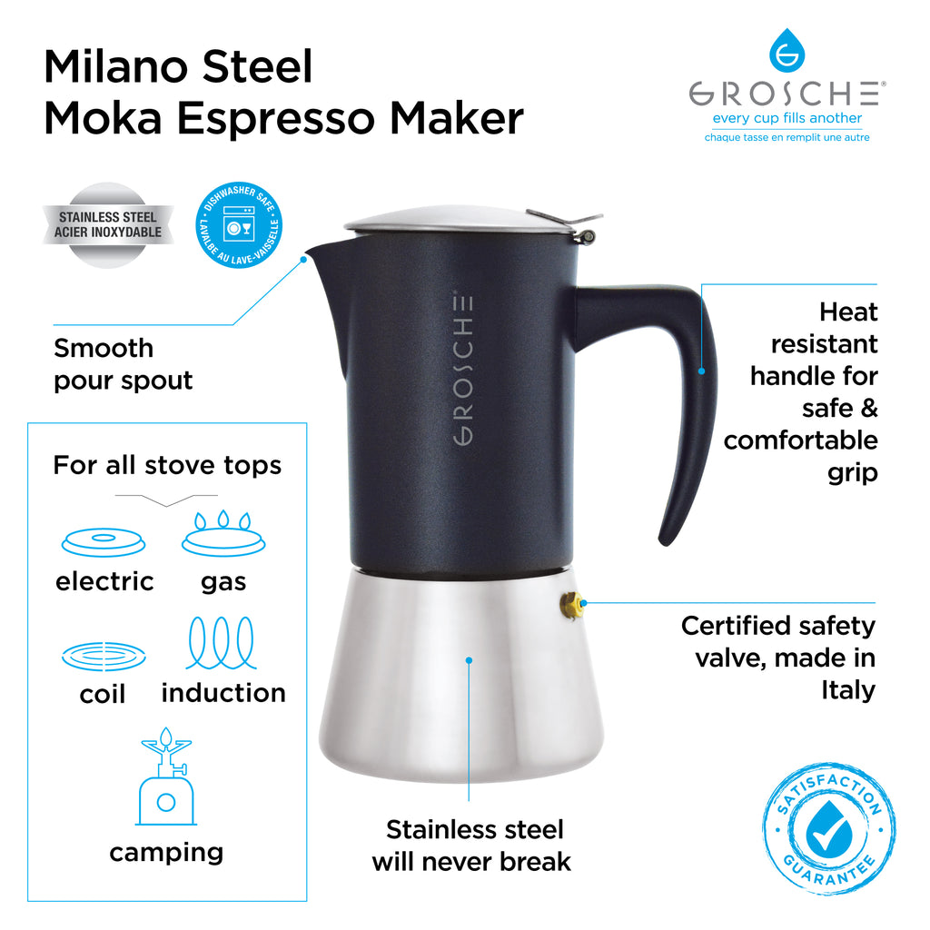 Stovetop Espresso Coffee Maker: GROSCHE Milano Steel Black - available in 2 sizes: 6 cup, 10 cup, Package of 4