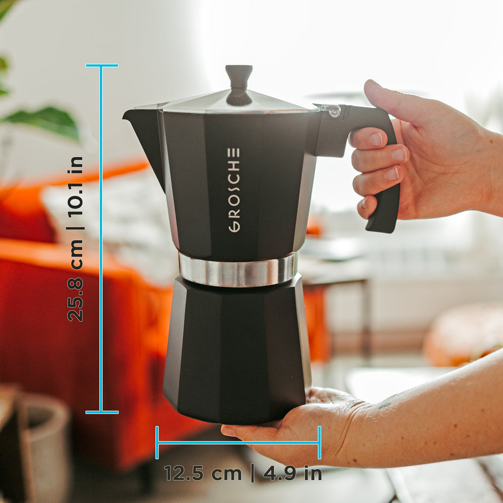 Stovetop Espresso Coffee Maker: GROSCHE Milano - Black, available in 5 sizes: 1 cup, 3 cup, 6 cup, 9 cup, 12 cup, Package of 4