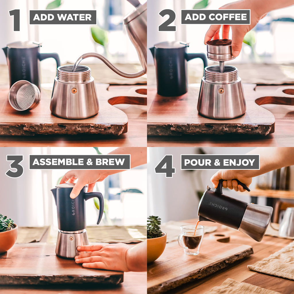 Stovetop Espresso Coffee Maker: GROSCHE Milano Steel - available in 2 sizes: 6 cup, 10 cup, Package of 4