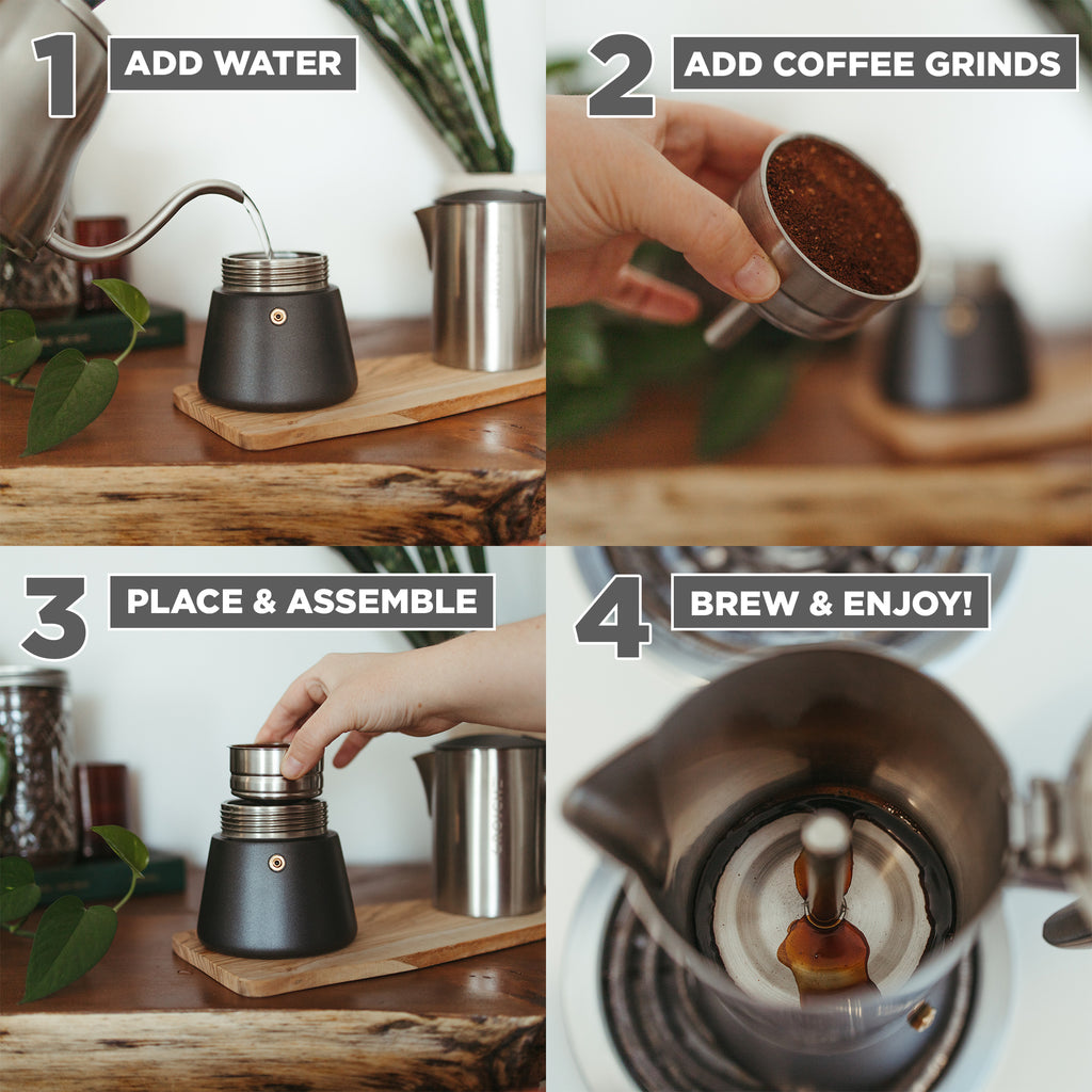 Stovetop Espresso Coffee Maker: GROSCHE Milano Steel Brushed - available in 2 sizes: 6 cup, 10 cup, Package of 4