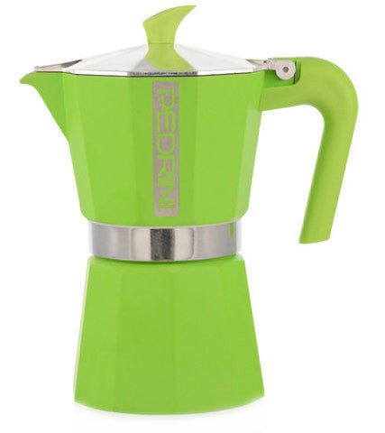 Espresso Coffee Maker Moka Pot: PEDRINI ITALY Polished Aluminium Stovetop Espresso Maker- Green, available in 4 sizes, package of 4
