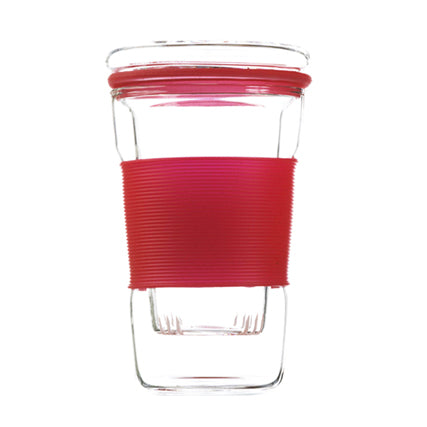 Infuser Tea Mug: Infuz - Red 350Ml/11.8 Fl. Oz - Package Of 4 - Infuser Tea Mug