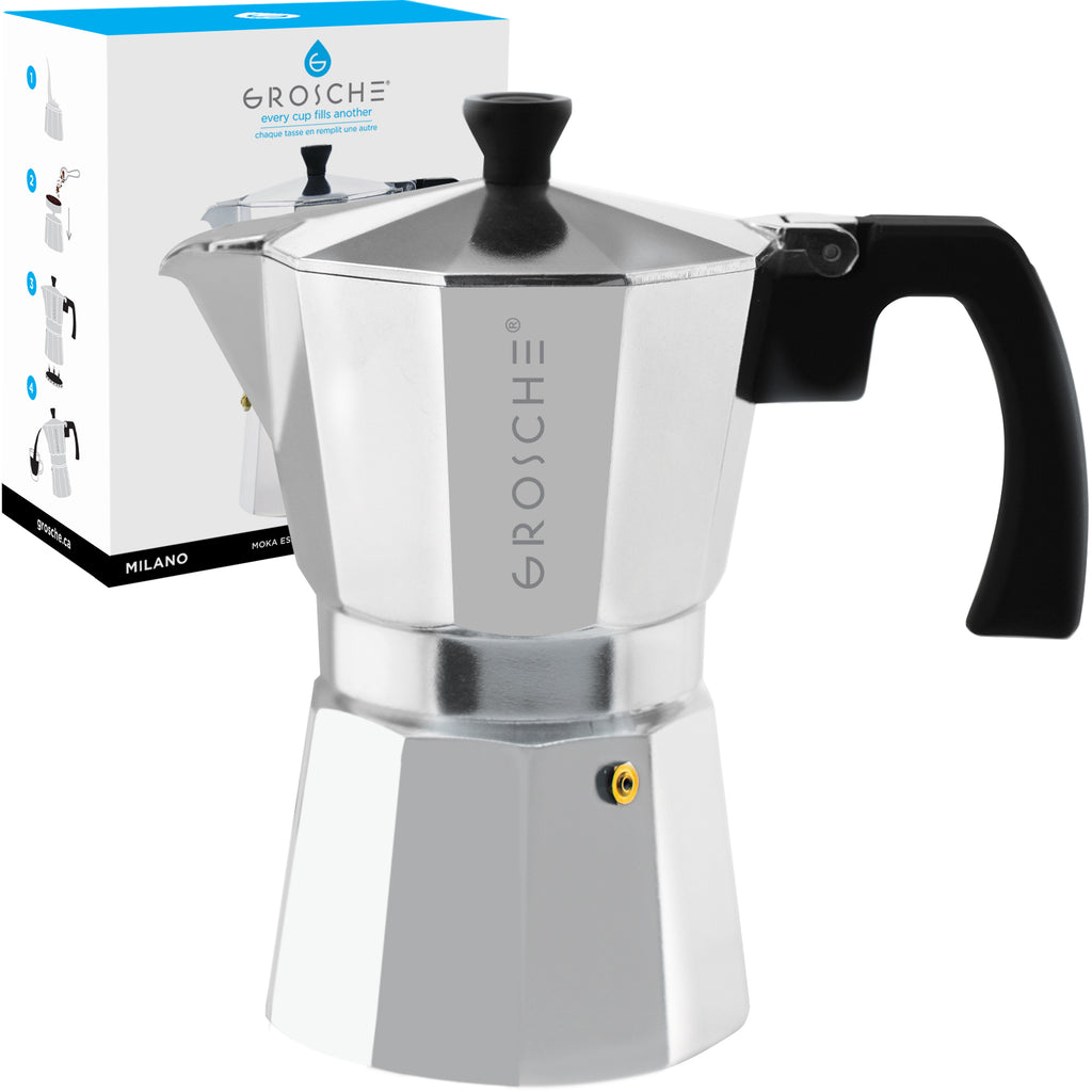 Stovetop Espresso Coffee Maker: GROSCHE Milano - Silver, available in 3 sizes: 3 cup, 6 cup, 9 cup, Package of 4