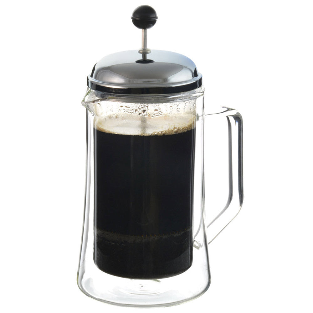 Stanford double walled glass french press, 1000ml, 34 fl oz. - Package of 4