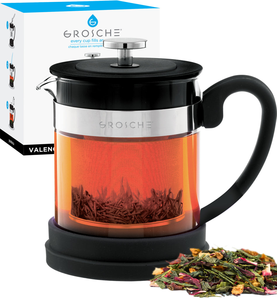Infuser Teapot: GROSCHE Valencia - Black, 600ml/20 fl. oz - Package of 2