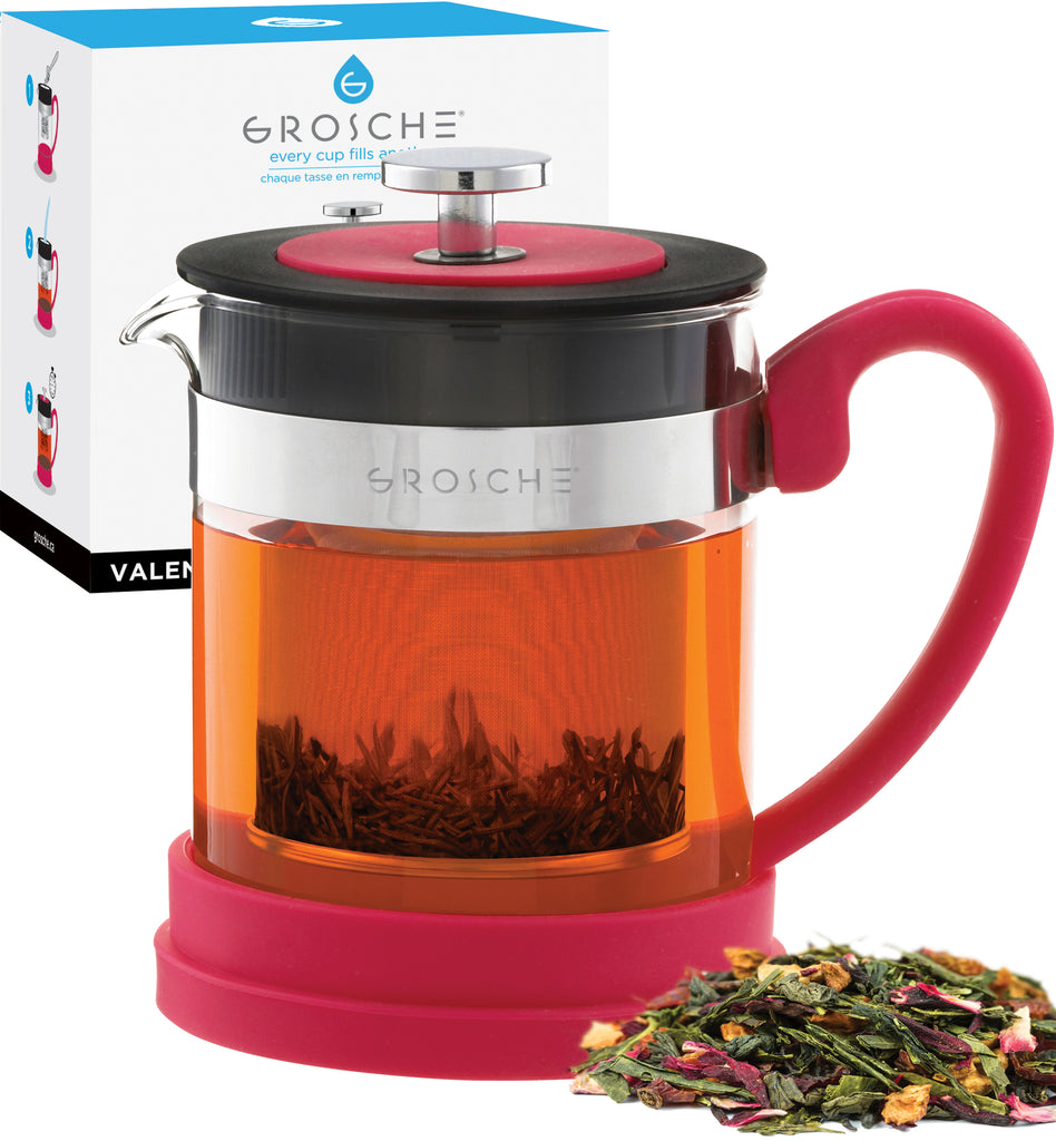 Infuser Teapot: GROSCHE Valencia - Pink, 600ml/20 fl. oz - Package of 2