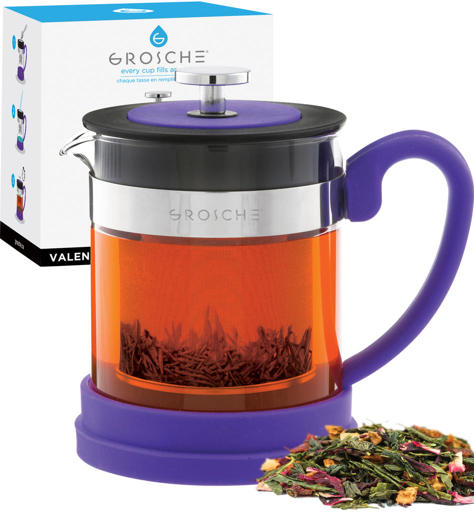 Infuser Teapot: GROSCHE Valencia - Purple, 600ml/20 fl. oz - Package of 2