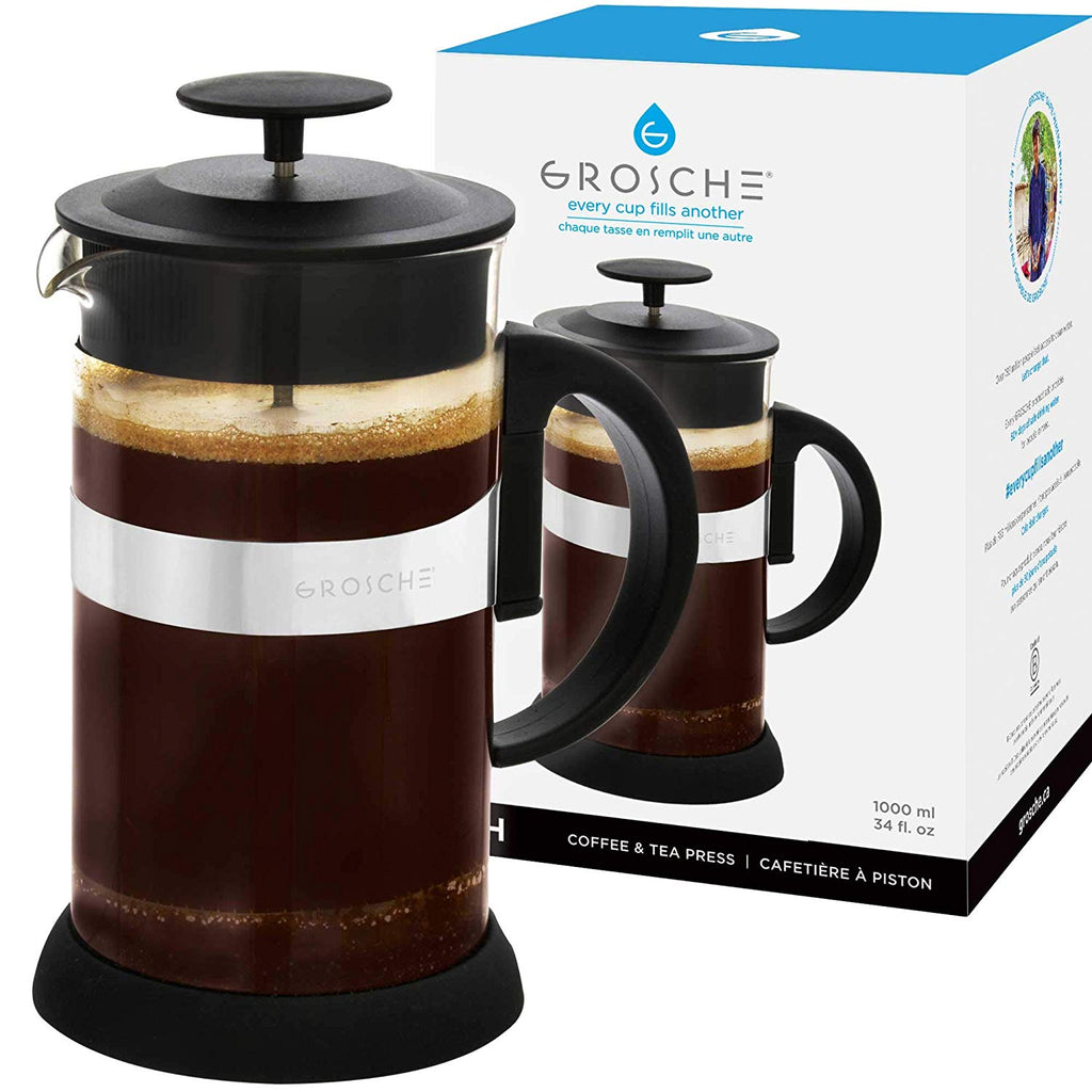French Press: ZURICH Black | 1000 ml | Pack of 4