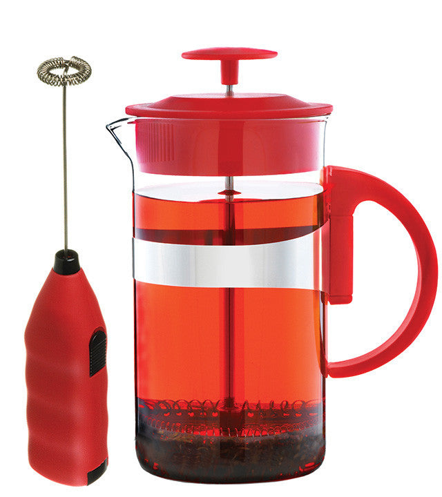 French Press & Milk Frother Set: Grosche Cafe Au Lait - Red 1000Ml/34 Fl. Oz - Package Of 4 - French Press