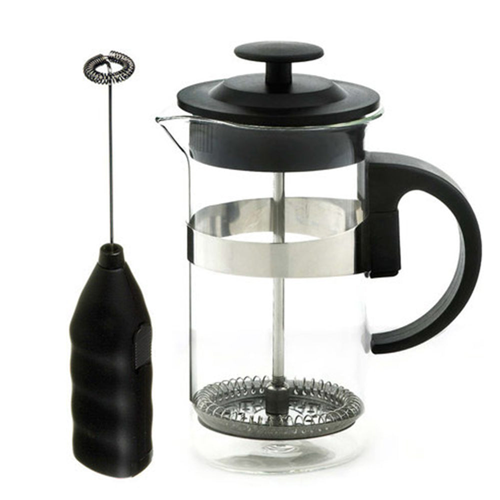 French Press & Milk Frother set: GROSCHE Cafe Au Lait - Black, 1000ml/34 fl. oz - Package of 4