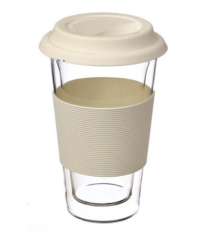 Glassware: Double Walled Glassen Travel Mug - White, 350ml - Package of 4