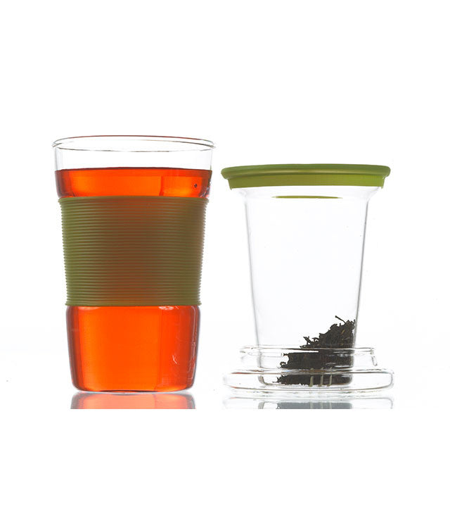 Infuser Tea Mug: Infuz - Green 350Ml/11.8 Fl. Oz - Package Of 4 - Infuser Tea Mug