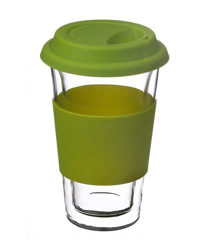 Glassware: Double Walled Glassen Travel Mug - Green, 350ml - Package of 4