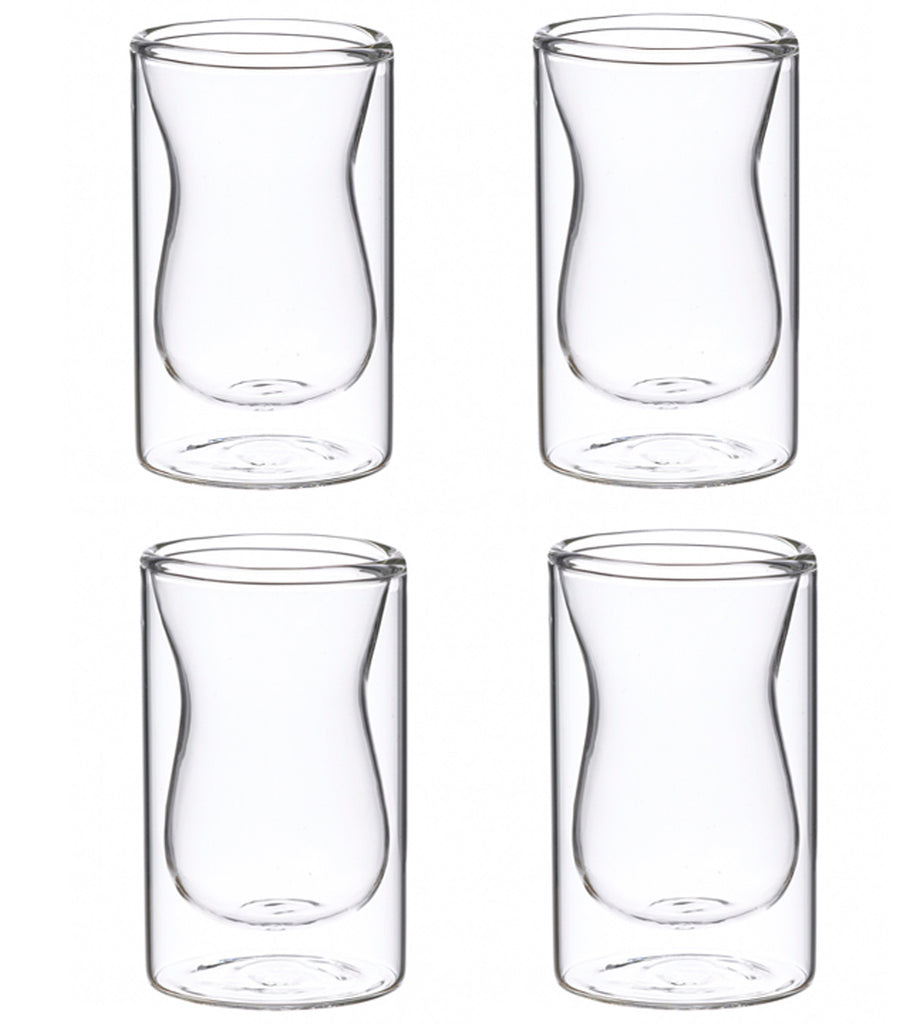 Glassware: Double Walled Istanbul Glasses - 4 X 90Ml/3 Fl. Oz - Package Of 4 Sets - Double Walled Glassware