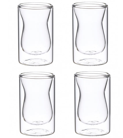 Glassware: Double Walled Istanbul Glasses - 4 x 90ml/3 fl. oz - Package of 4 sets