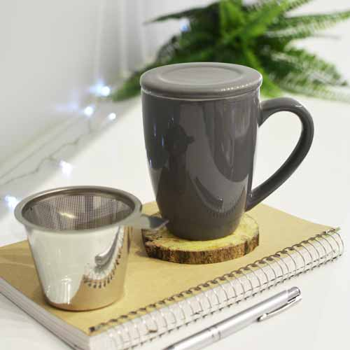 Infuser Tea Mug: Grosche Kassel - Grey 330Ml/11.2 Fl. Oz - Package Of 4