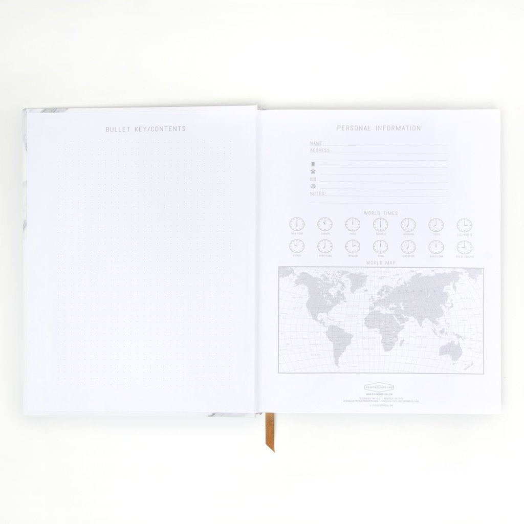 White Marble - Soft Touch Hardcover Book Bound