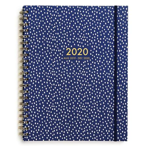 Weekly Spiral Planners Large/White Dots On Navy Biweekly 2020