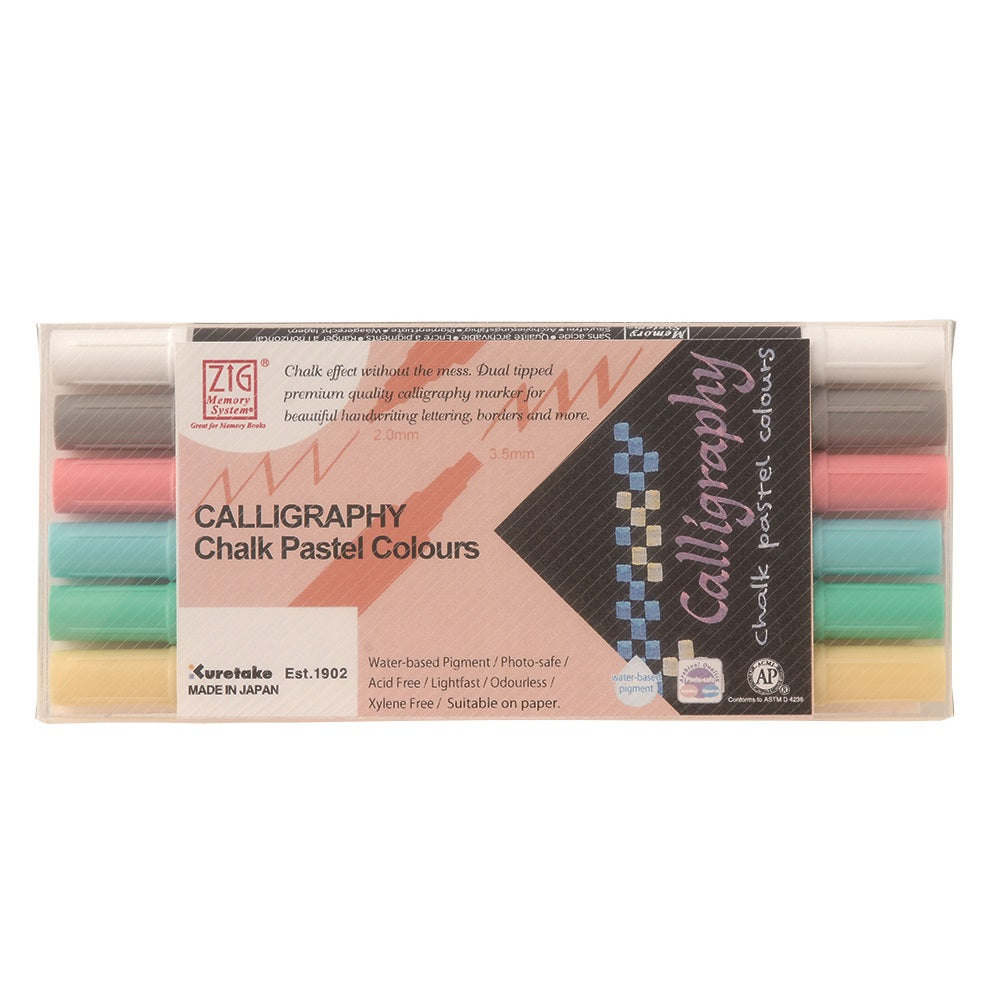 Set 6 Color Chalk Pastel Colours Zig Memory System Calligraphy