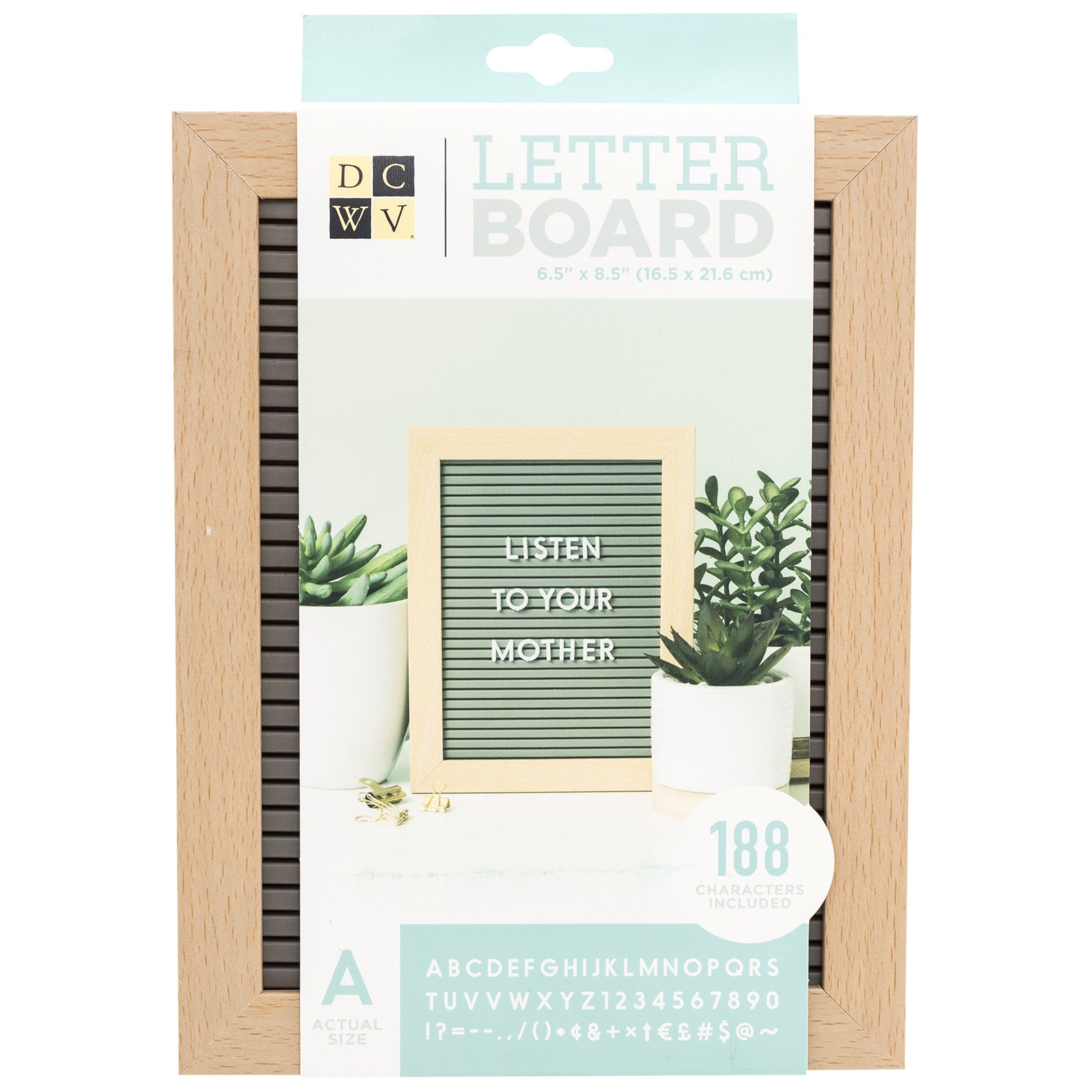 Letterboard Dcwv 5X7 Oakgrey with Light Wood Frame White letters (188 pieces)