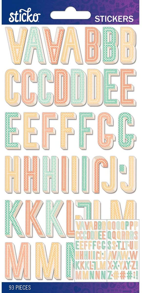 Stickers Letras Pastel Pattern Small Alpha 93 piezas