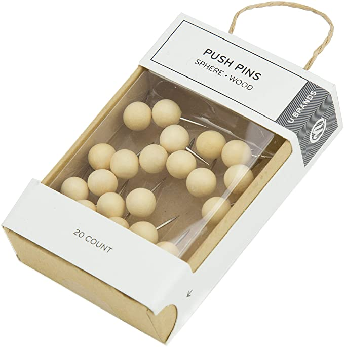 Wood Sphere Push Pins Pine