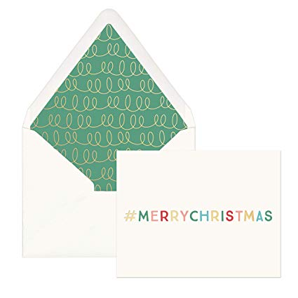 #Merrychristmas - Boxed Lined Envelope Holiday Cards 12 Ct