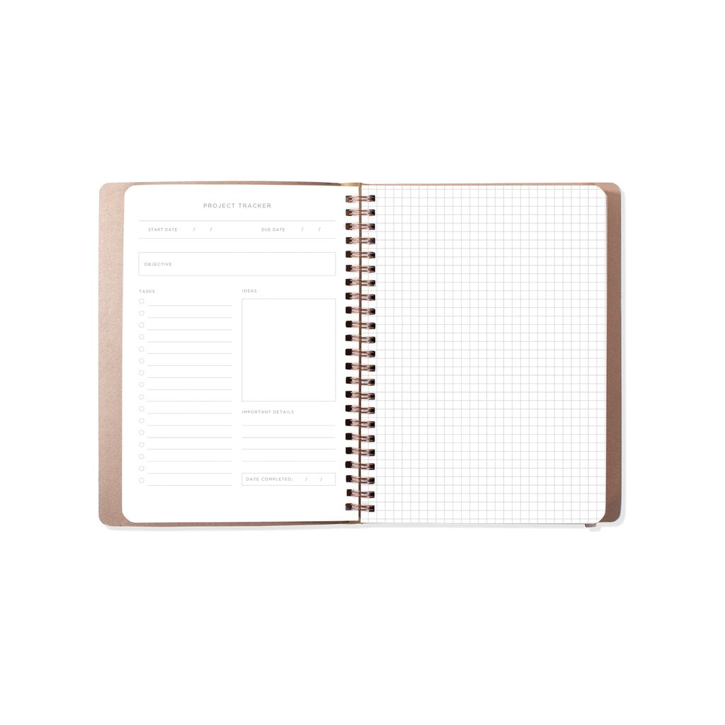 Vegan Leather Project Book Tn Circle Grid Charcoal
