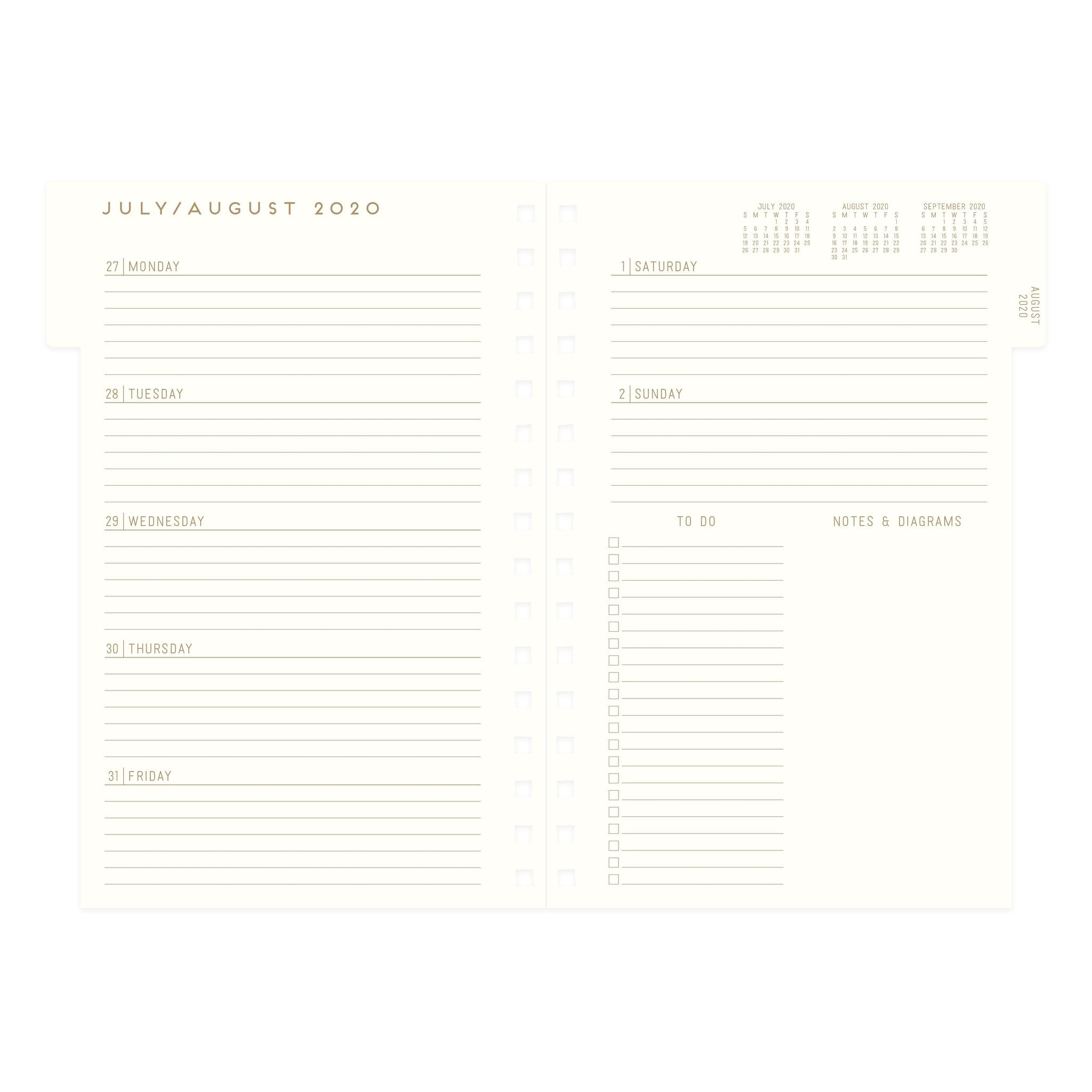 Agenda Printed 2021 Derby Warm - 17 Month Hardcover Twin Wire Monthly Planner 2020-2021