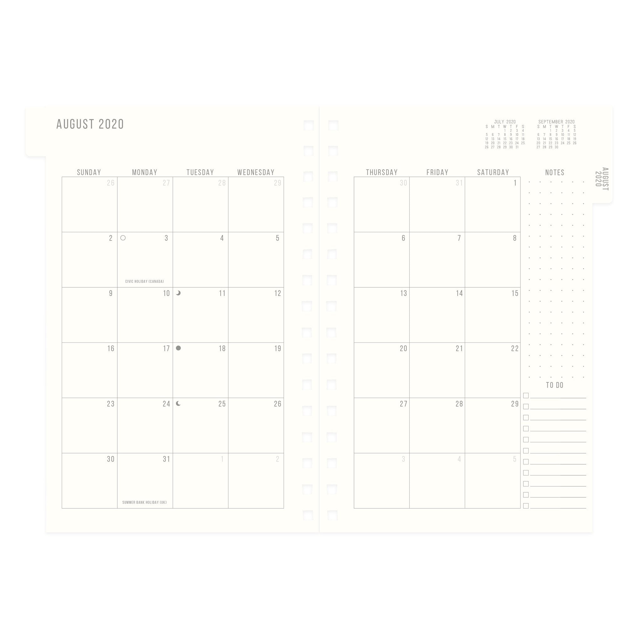 Agenda Black Standard Issue - 17 Month Hardcover Twin Wire Monthly Planner 2020-2021
