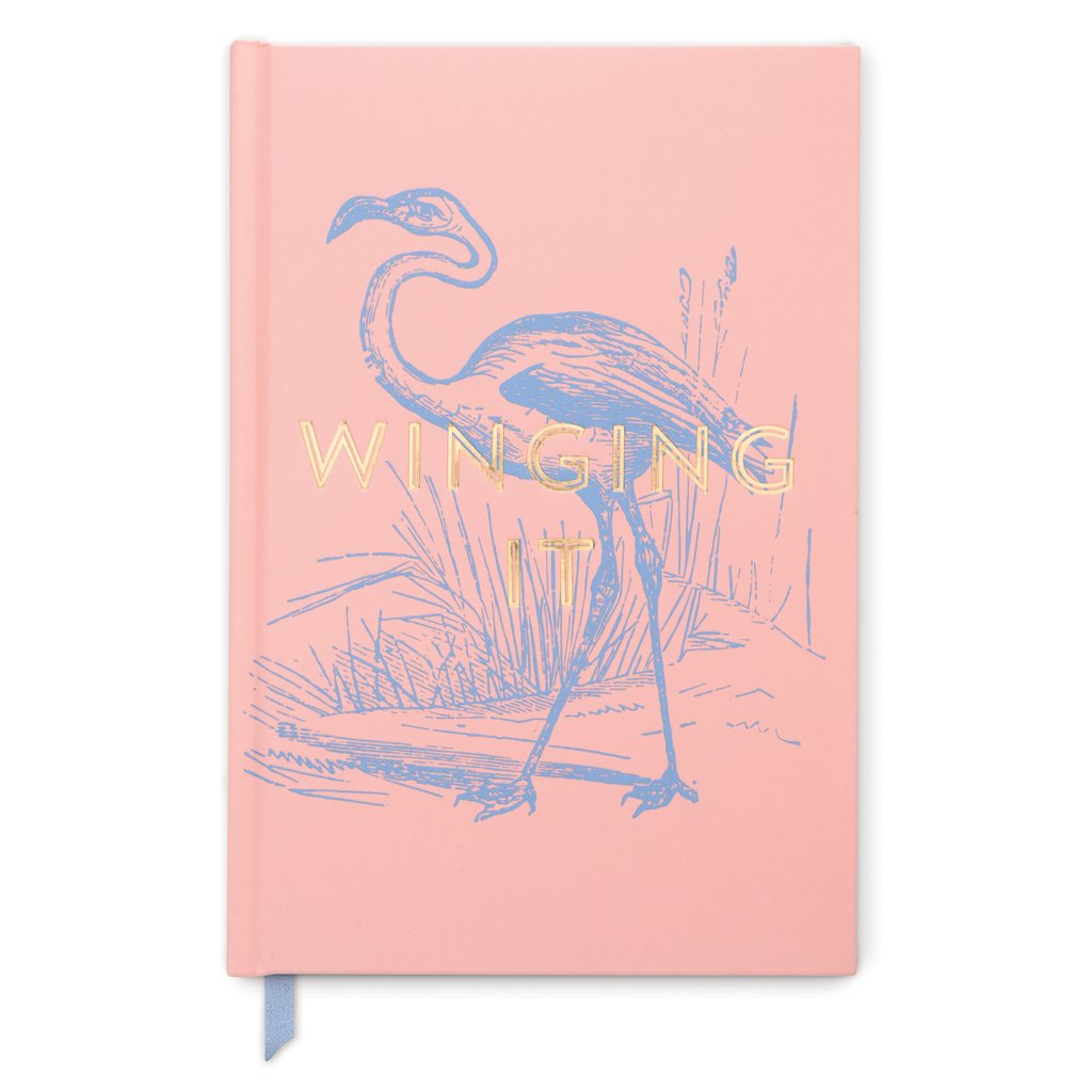 Flamingo Winging It Vintage Sass - Soft Touch Hardcover Book Bound