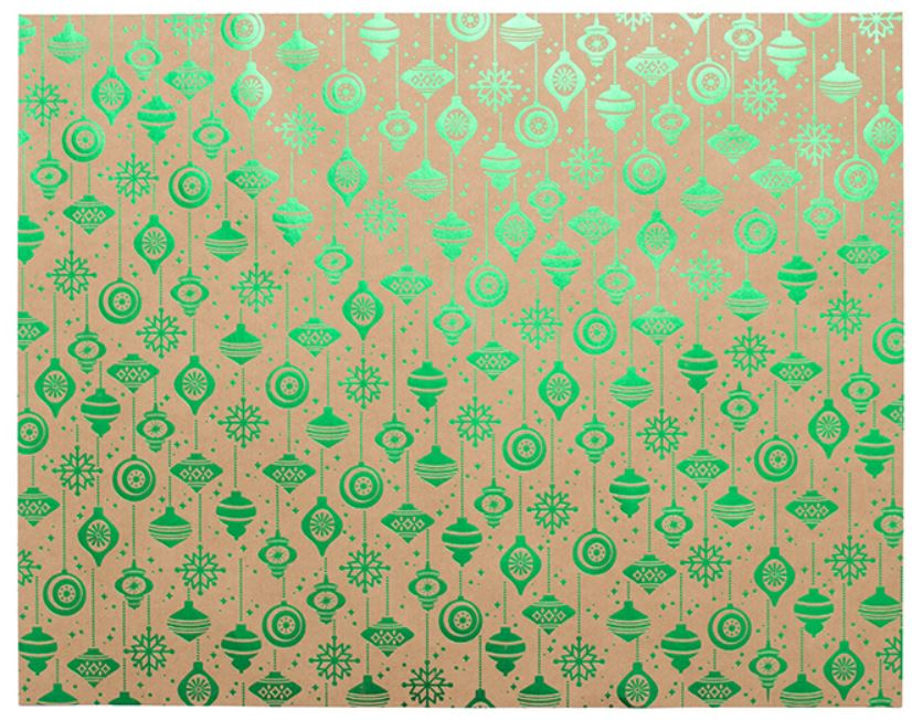 Papel de Regalo WR - Kraft Green Foil - Ornament - Navidad