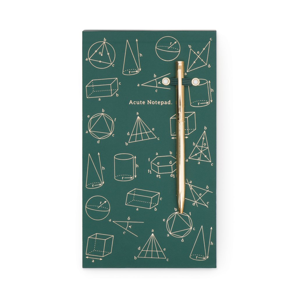 Chunky Note Pad With Pen - Green Acute Notepad